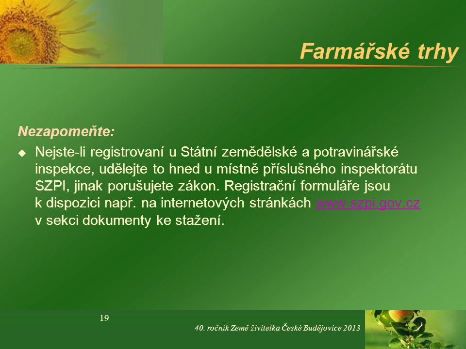 Farmářské trhy Nezapomeňte: