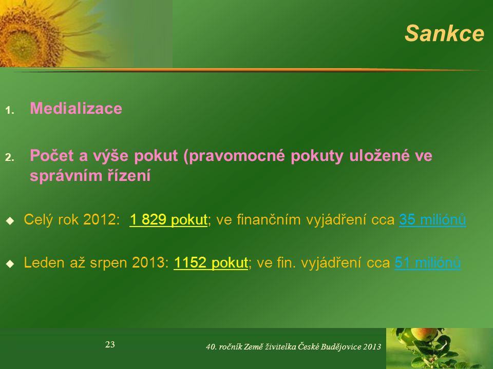 Sankce Medializace. Počet a výše pokut (pravomocné pokuty uložené ve správním řízení.