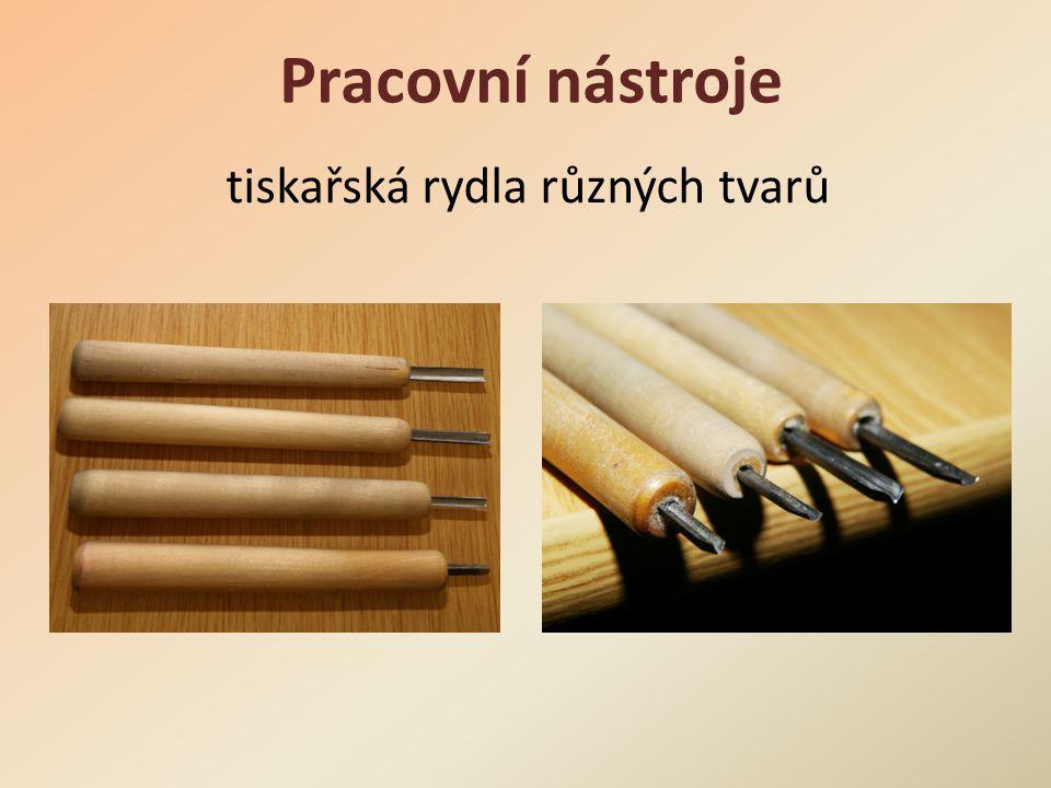 tiskařská rydla různých tvarů