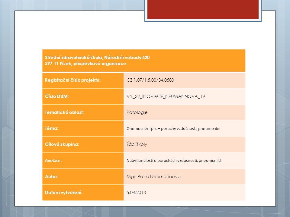 Střední zdravotnická škola, Národní svobody 420 397 11 Písek, příspěvková organizace