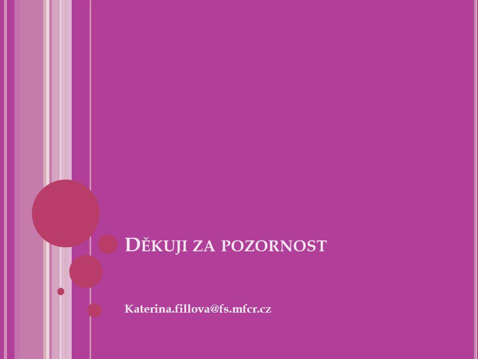 Děkuji za pozornost Katerina.fillova@fs.mfcr.cz