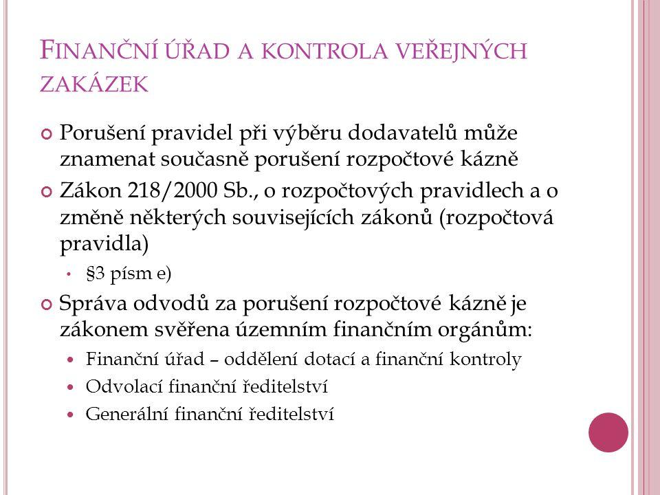 Finanční úřad a kontrola veřejných zakázek