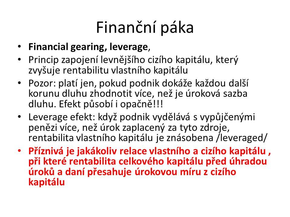 Finanční páka Financial gearing, leverage,