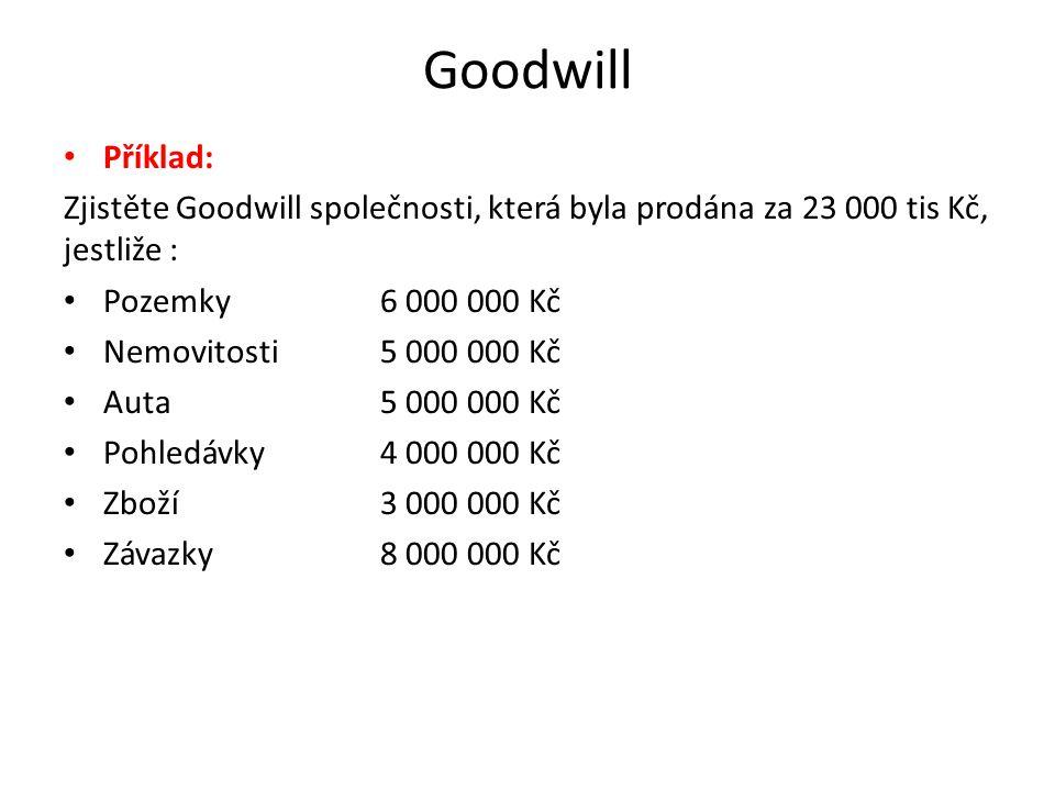 Goodwill Příklad: Zjistěte Goodwill společnosti, která byla prodána za 23 000 tis Kč, jestliže : Pozemky 6 000 000 Kč.