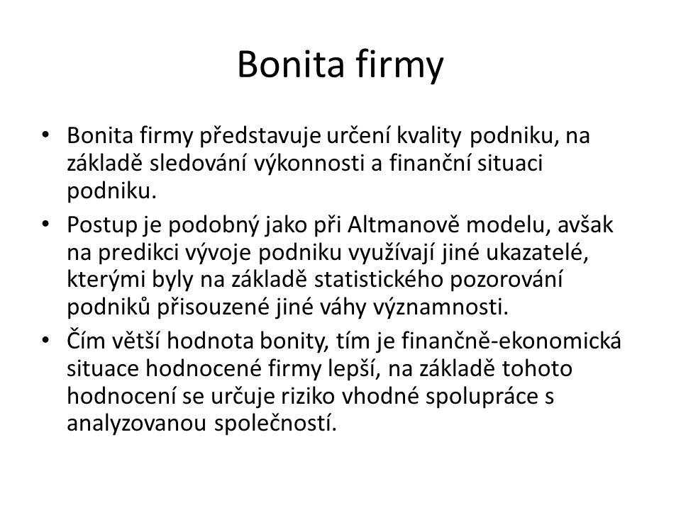 Bonita firmy Bonita firmy představuje určení kvality podniku, na základě sledování výkonnosti a finanční situaci podniku.