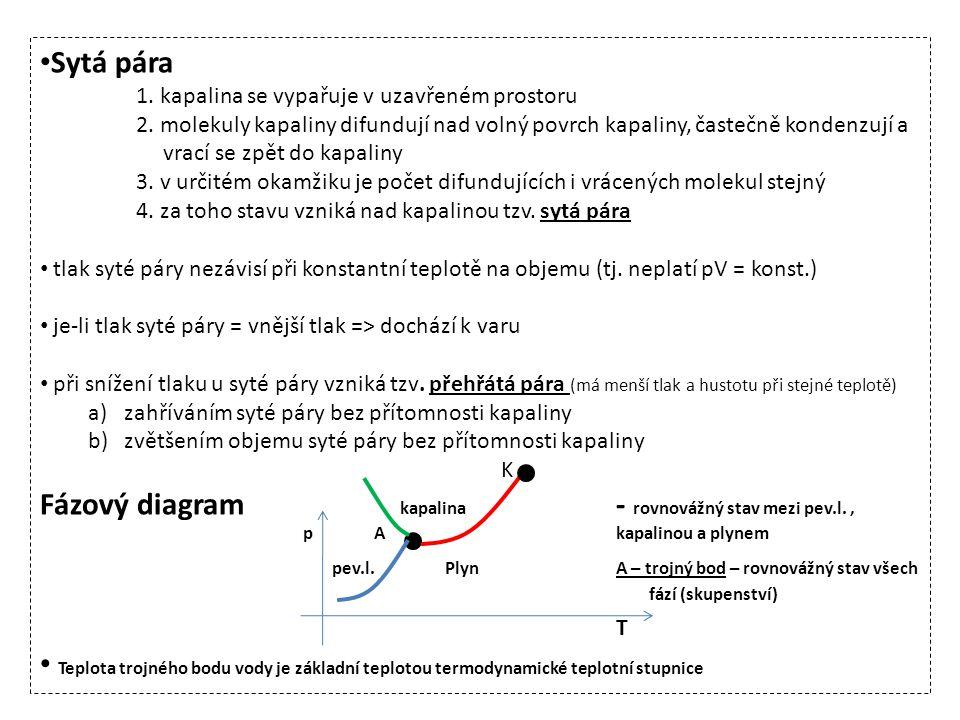 pev.l. Plyn A – trojný bod – rovnovážný stav všech fází (skupenství) T