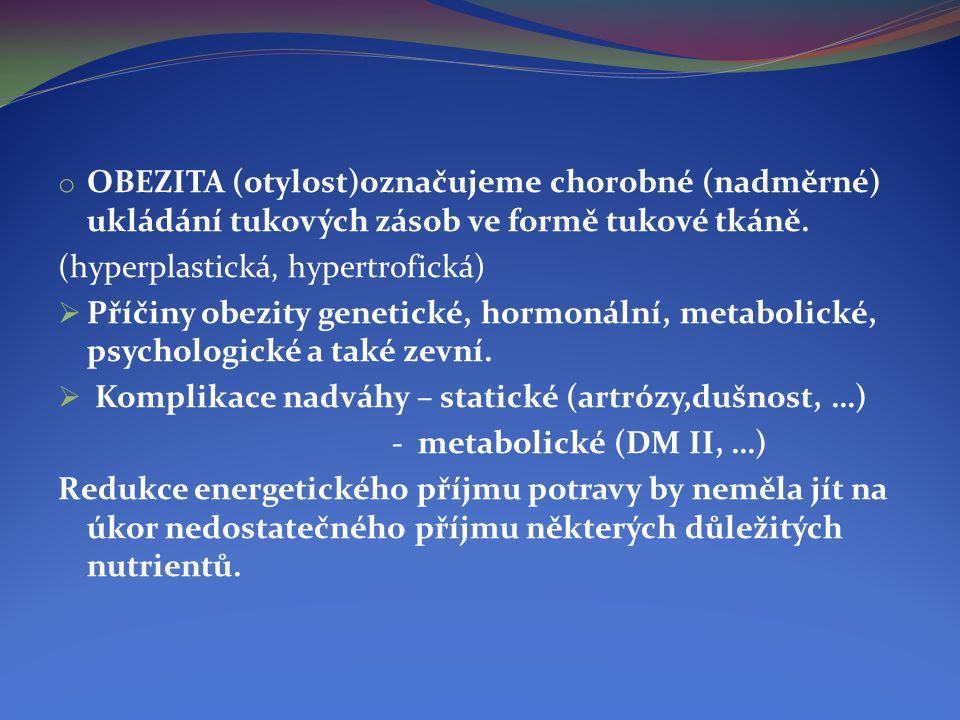 OBEZITA (otylost)označujeme chorobné (nadměrné) ukládání tukových zásob ve formě tukové tkáně.