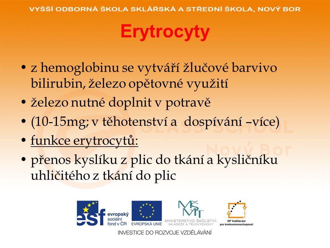 Erytrocyty z hemoglobinu se vytváří žlučové barvivo bilirubin, železo opětovné využití. železo nutné doplnit v potravě.