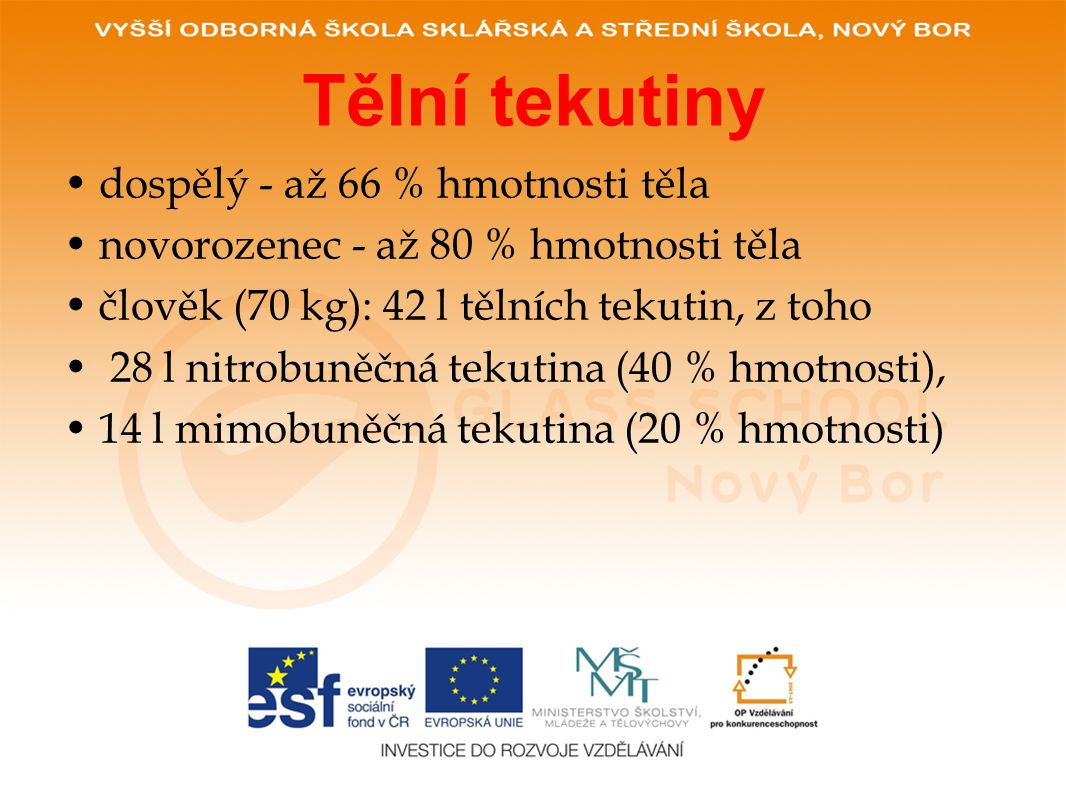 Tělní tekutiny dospělý - až 66 % hmotnosti těla