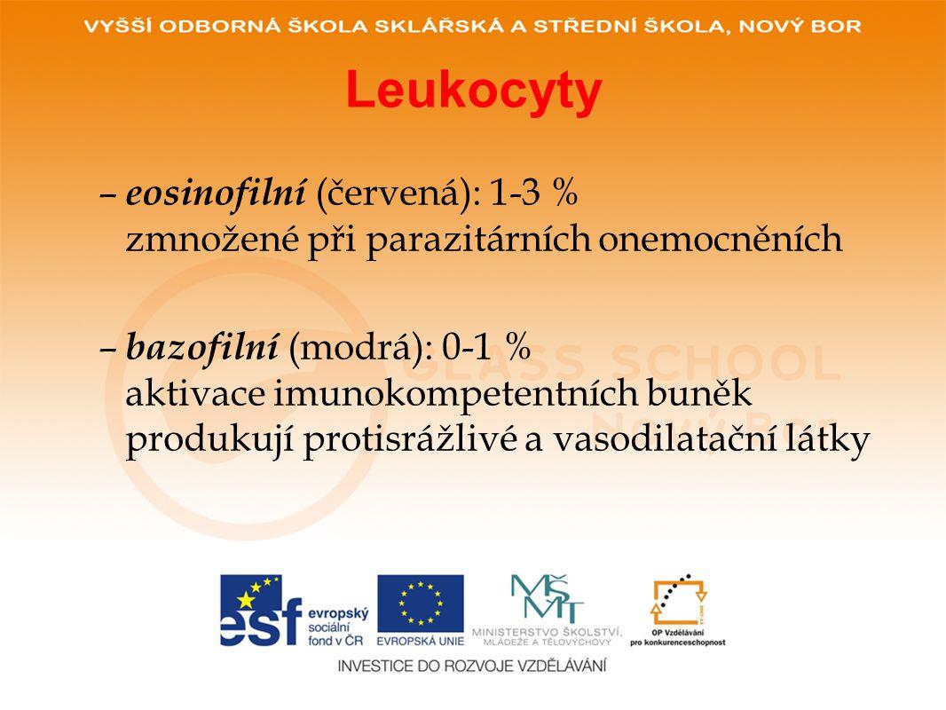 Leukocyty eosinofilní (červená): 1-3 % zmnožené při parazitárních onemocněních