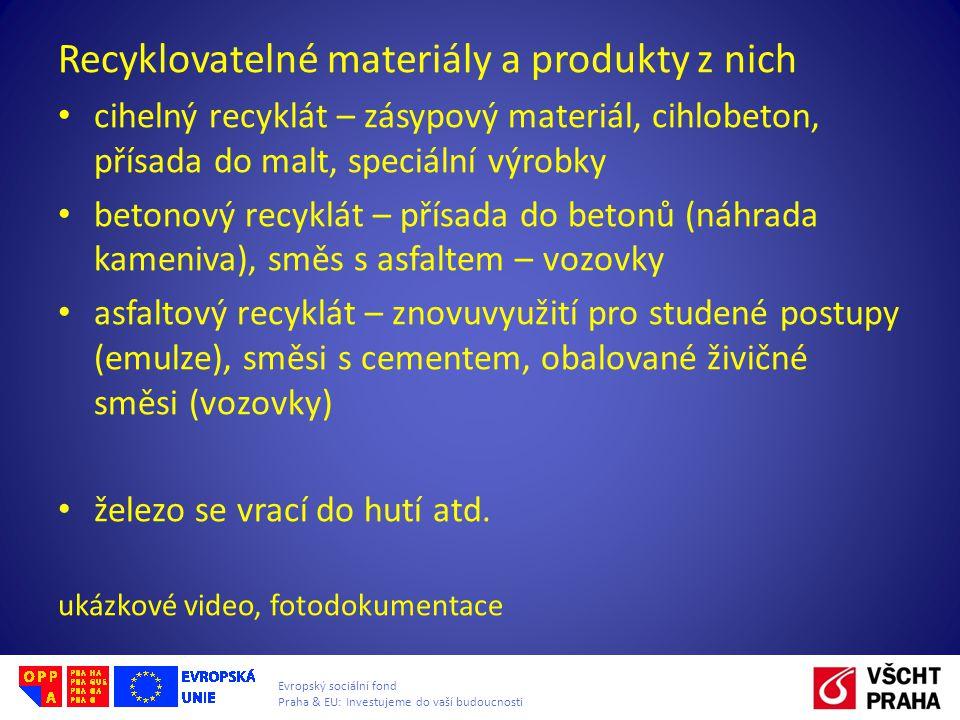 Recyklovatelné materiály a produkty z nich