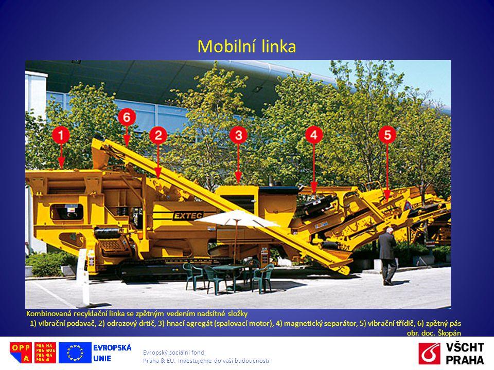 Mobilní linka Kombinovaná recyklační linka se zpětným vedením nadsítné složky.