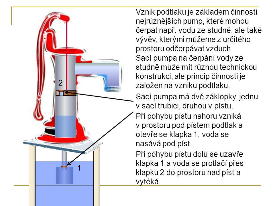 Vznik podtlaku je základem činnosti nejrůznějších pump, které mohou čerpat např. vodu ze studně, ale také vývěv, kterými můžeme z určitého prostoru odčerpávat vzduch.