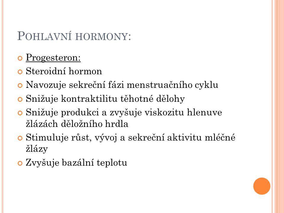 Pohlavní hormony: Progesteron: Steroidní hormon