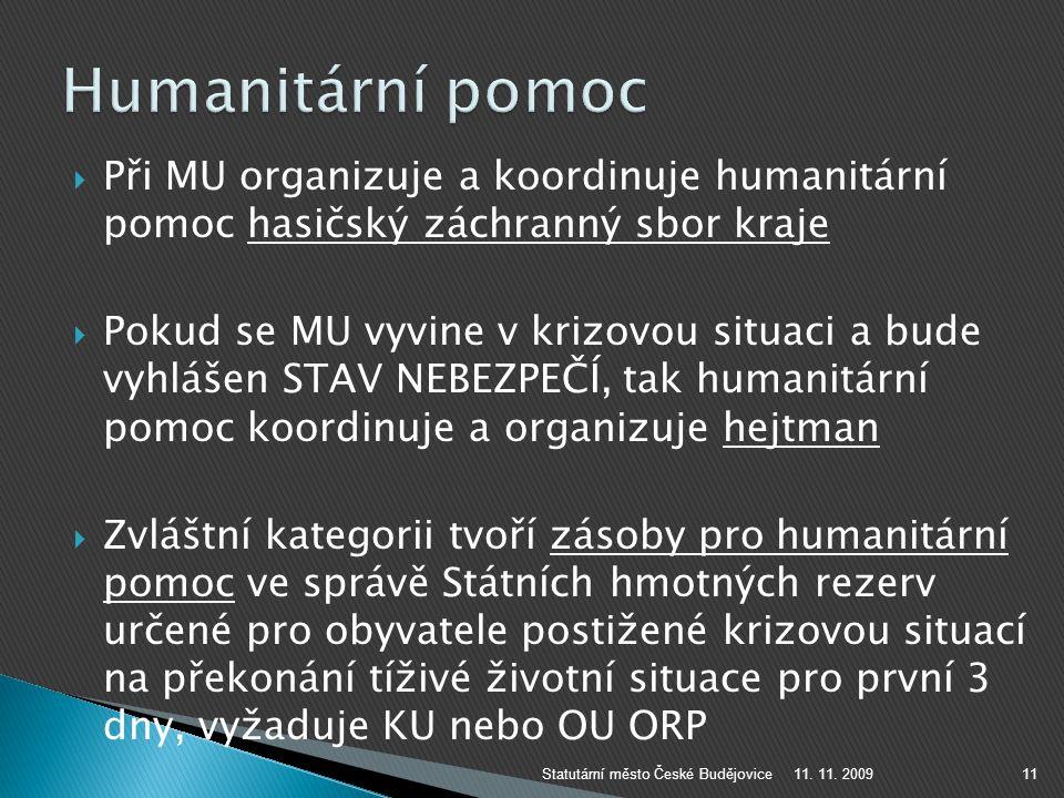 Humanitární pomoc Při MU organizuje a koordinuje humanitární pomoc hasičský záchranný sbor kraje.