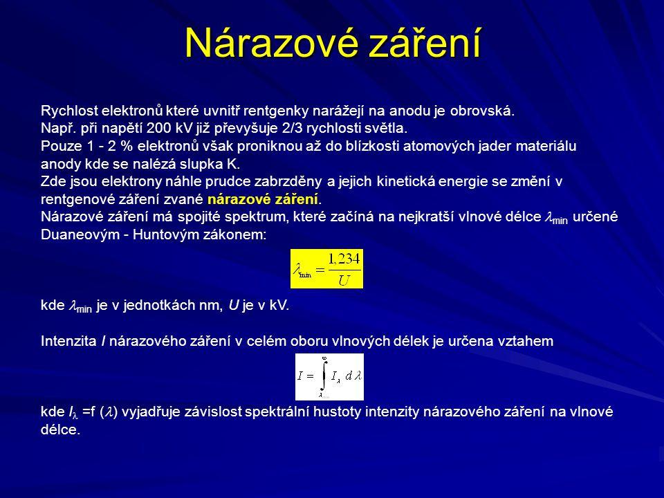 Nárazové záření Rychlost elektronů které uvnitř rentgenky narážejí na anodu je obrovská. Např. při napětí 200 kV již převyšuje 2/3 rychlosti světla.