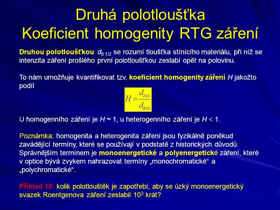 Druhá polotloušťka Koeficient homogenity RTG záření
