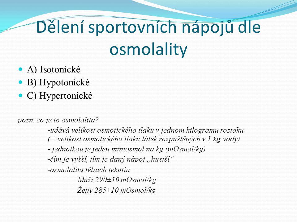 Dělení sportovních nápojů dle osmolality