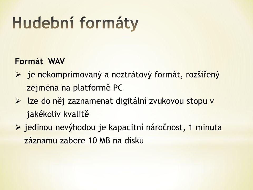 Hudební formáty Formát WAV