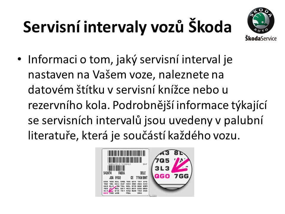 Servisní intervaly vozů Škoda