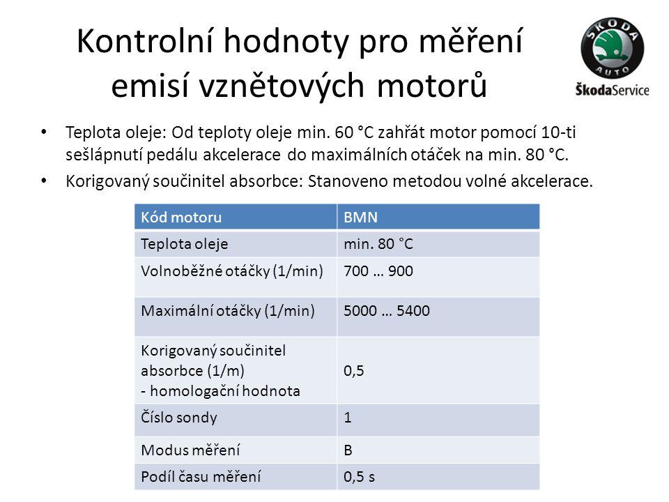 Kontrolní hodnoty pro měření emisí vznětových motorů