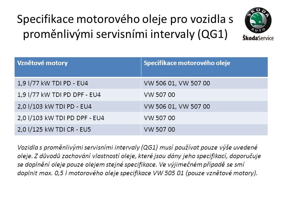 Specifikace motorového oleje pro vozidla s proměnlivými servisními intervaly (QG1)