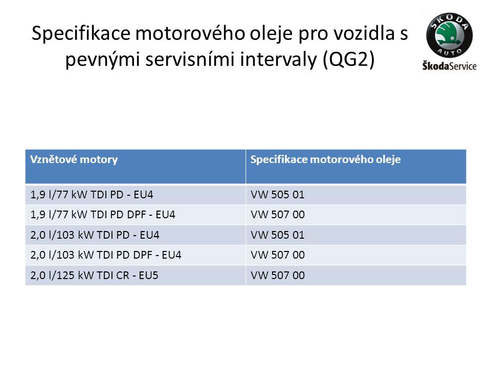 Specifikace motorového oleje pro vozidla s pevnými servisními intervaly (QG2)