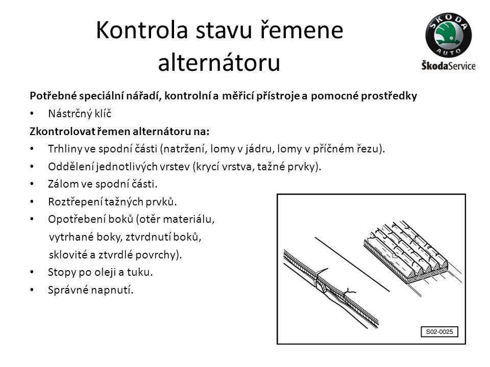 Kontrola stavu řemene alternátoru