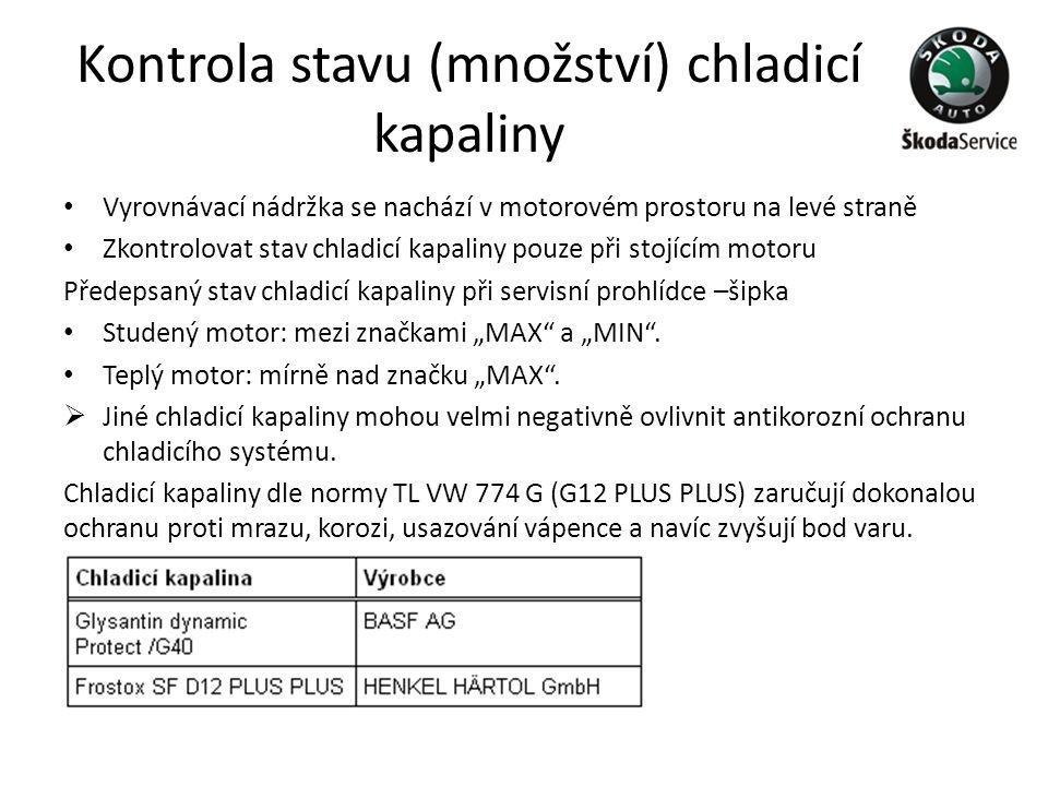Kontrola stavu (množství) chladicí kapaliny