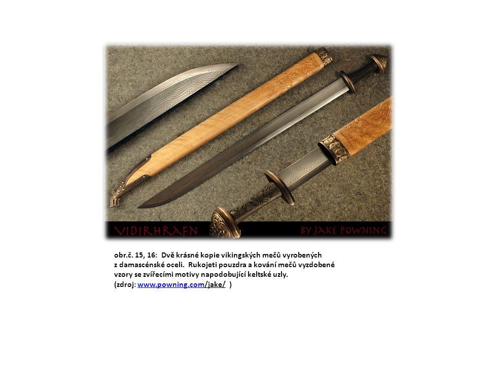 obr. č. 11: dlouhý nůž scramasax s čepelí zdobenou rytými keltskými uzly