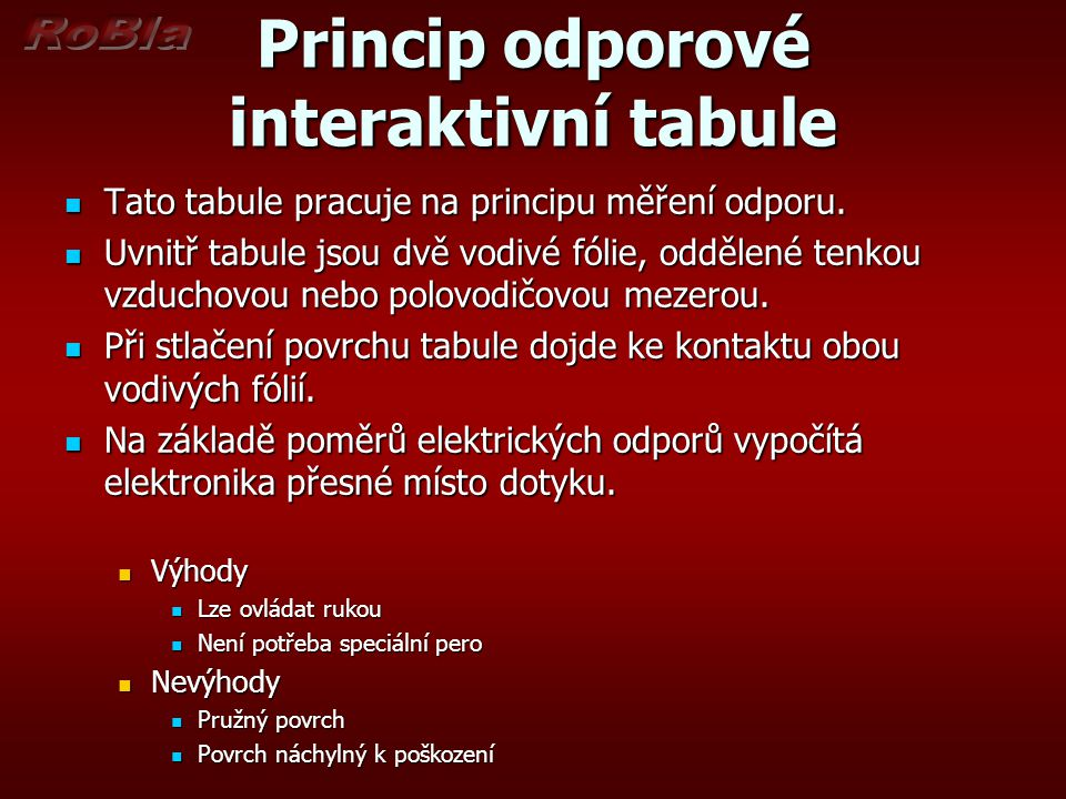 Princip odporové interaktivní tabule