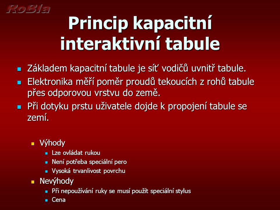 Princip kapacitní interaktivní tabule