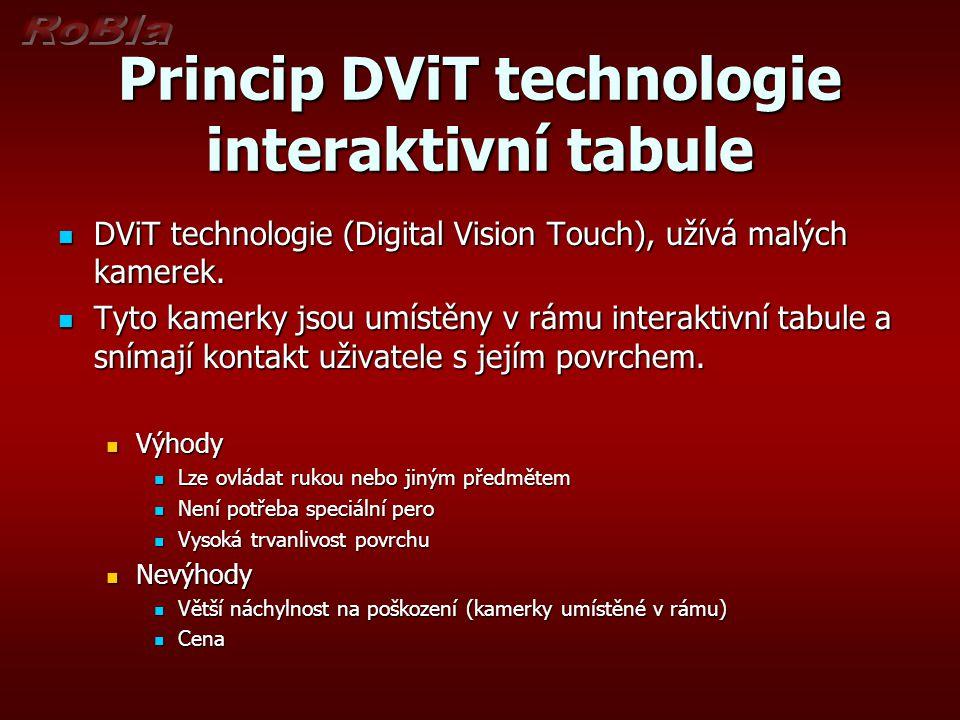 Princip DViT technologie interaktivní tabule