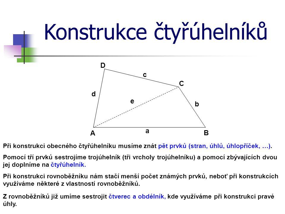 Konstrukce čtyřúhelníků