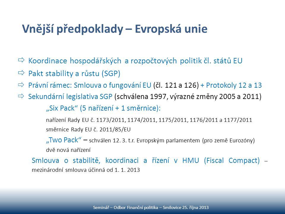 Vnější předpoklady – Evropská unie