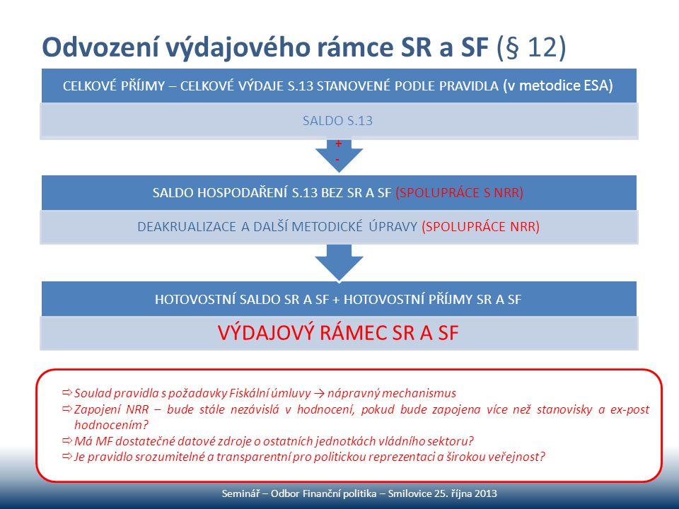 Odvození výdajového rámce SR a SF (§ 12)