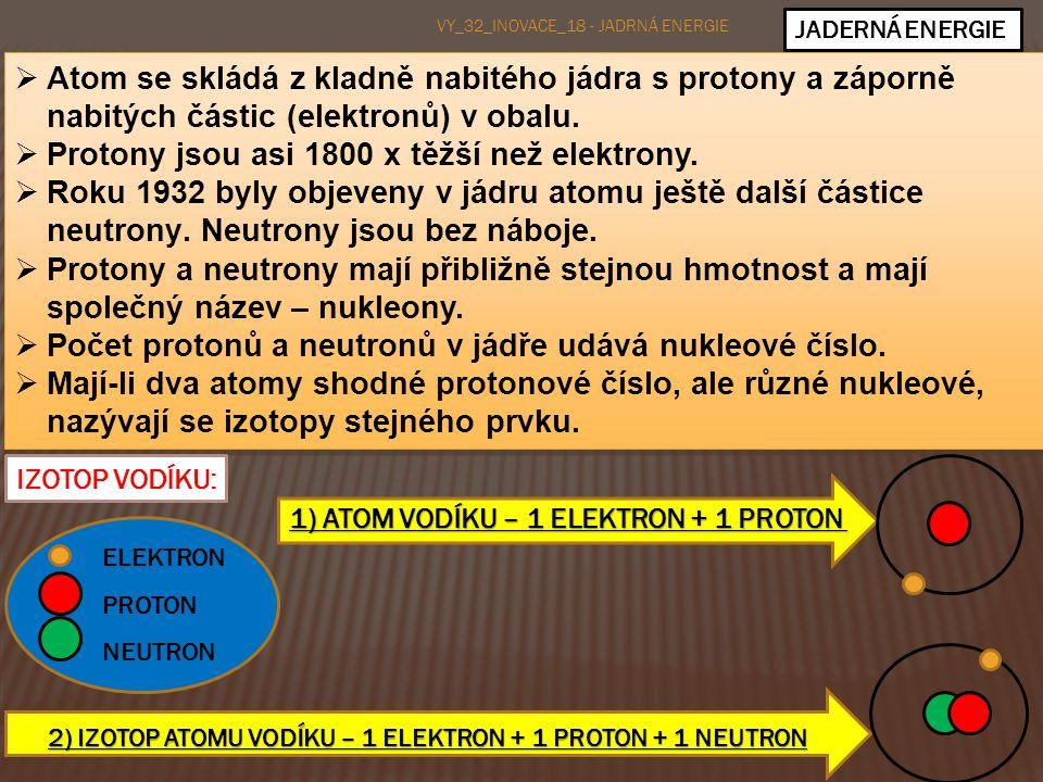 2) IZOTOP ATOMU VODÍKU – 1 ELEKTRON + 1 PROTON + 1 NEUTRON