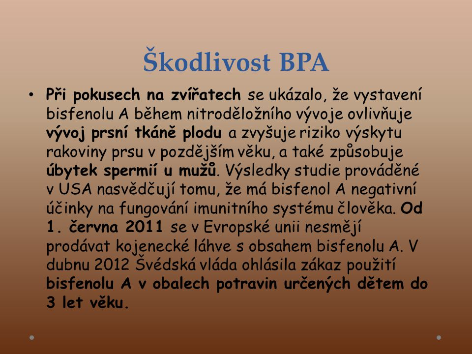 Škodlivost BPA