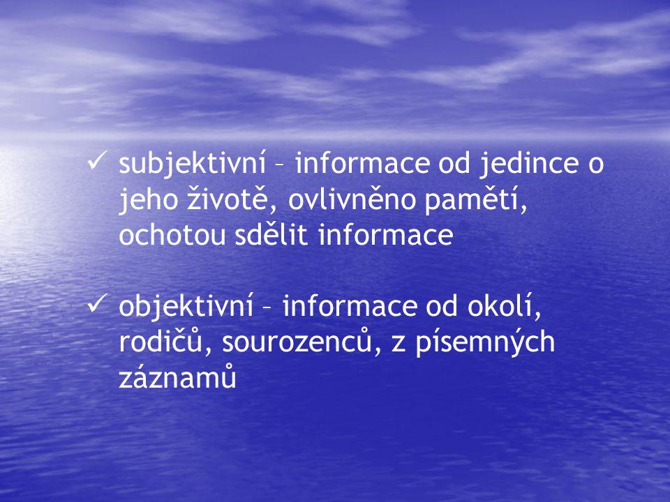 subjektivní – informace od jedince o jeho životě, ovlivněno pamětí, ochotou sdělit informace