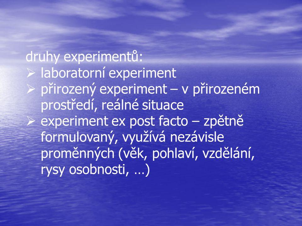 druhy experimentů: laboratorní experiment. přirozený experiment – v přirozeném prostředí, reálné situace.