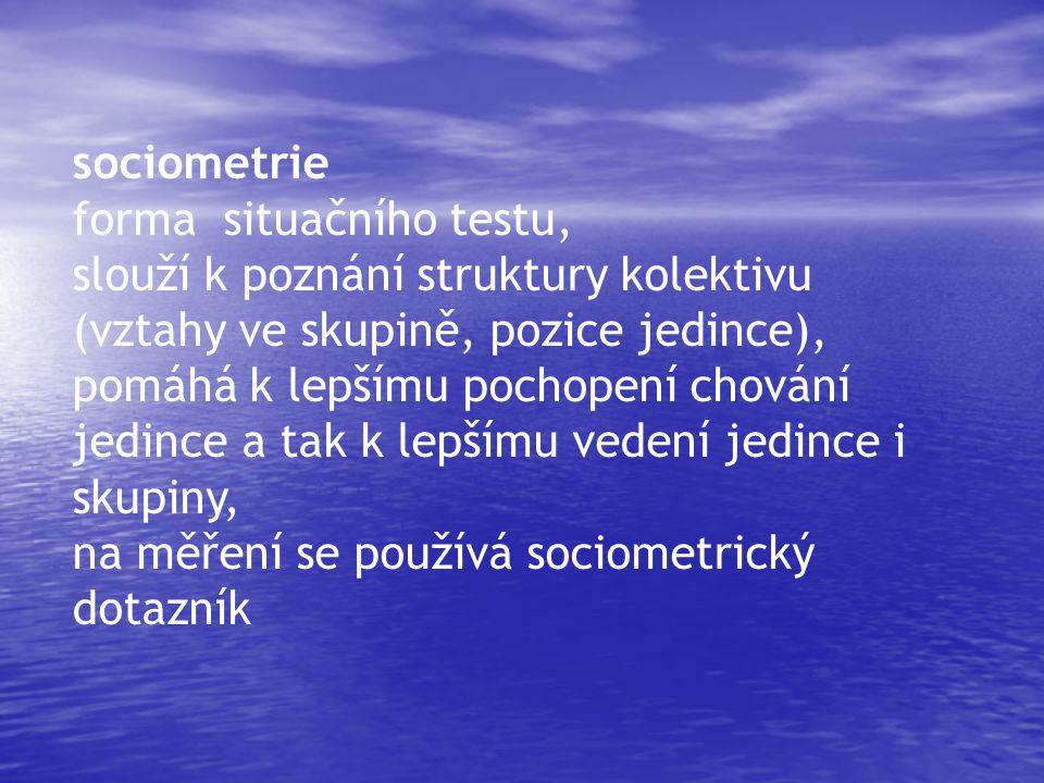 sociometrie forma situačního testu, slouží k poznání struktury kolektivu (vztahy ve skupině, pozice jedince),