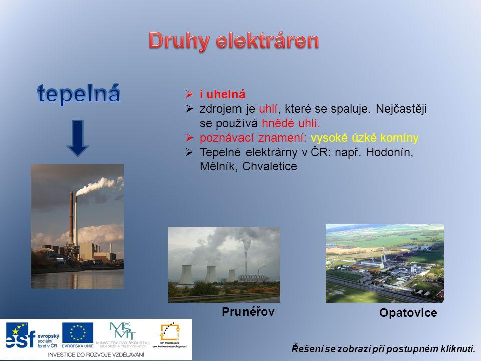 tepelná Druhy elektráren i uhelná