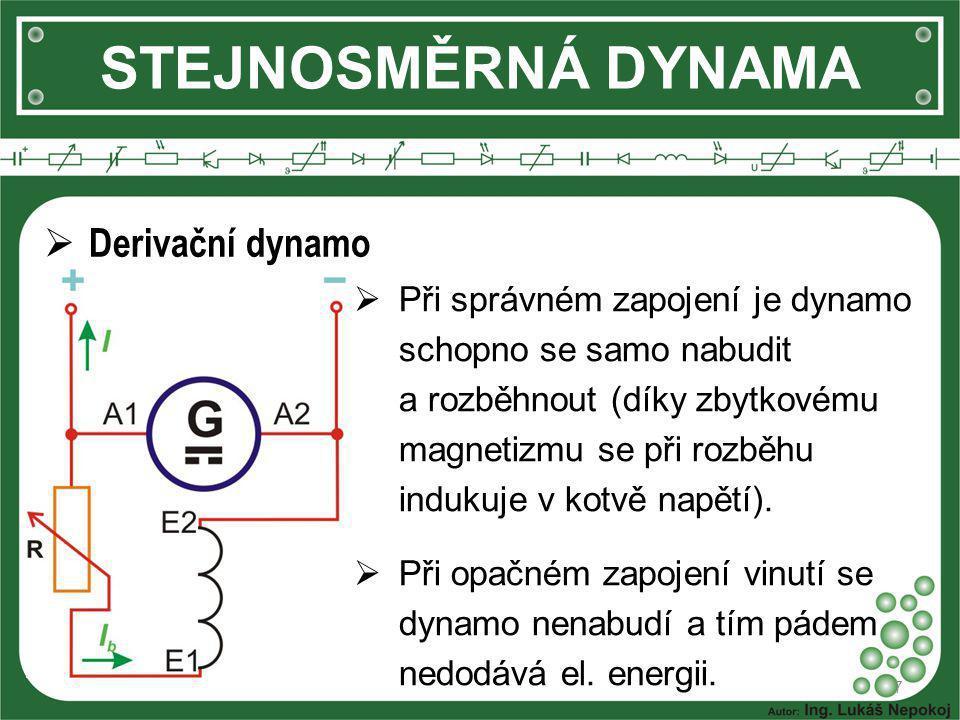 STEJNOSMĚRNÁ DYNAMA Derivační dynamo