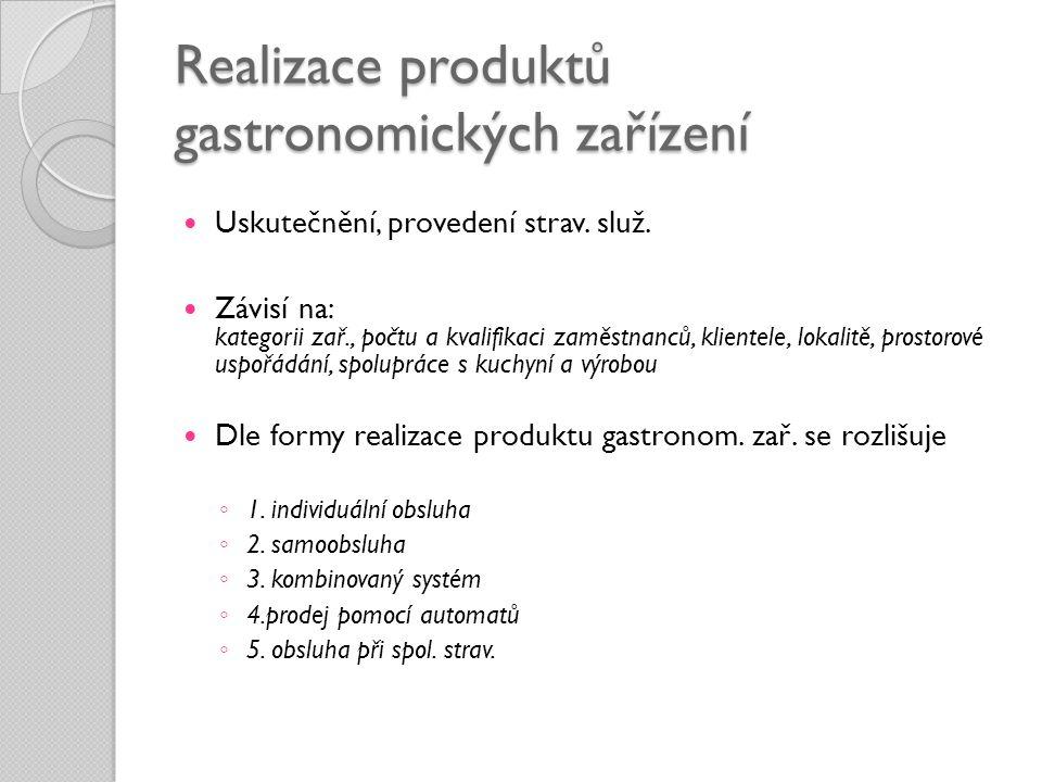 Realizace produktů gastronomických zařízení
