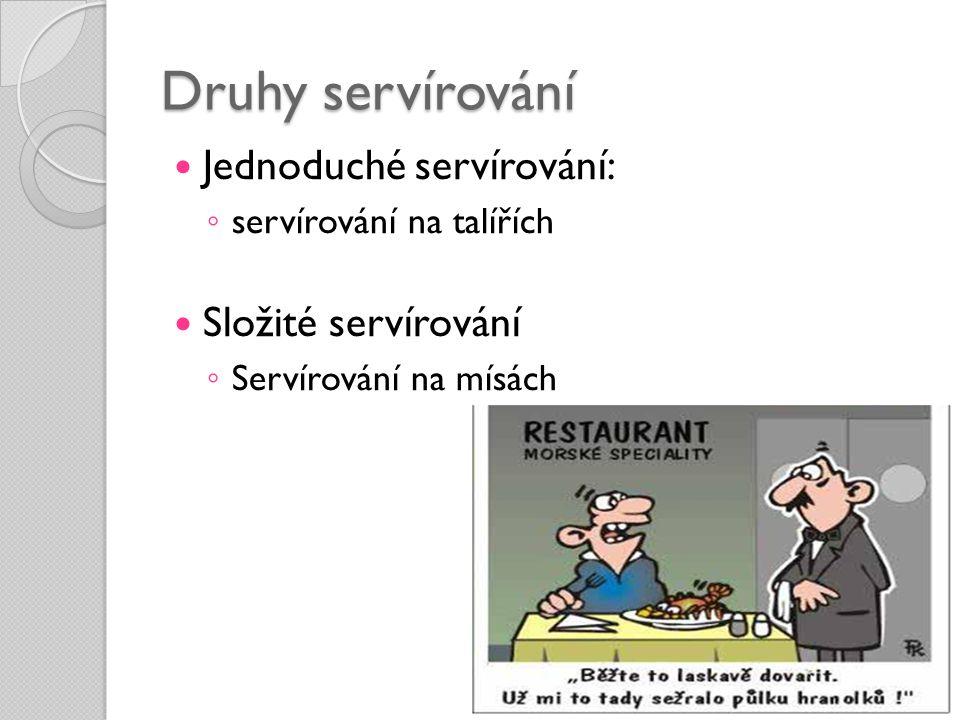 Druhy servírování Jednoduché servírování: Složité servírování
