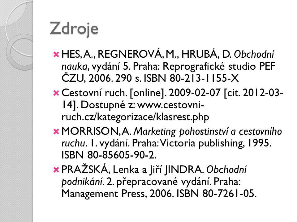 Zdroje HES, A., REGNEROVÁ, M., HRUBÁ, D. Obchodní nauka, vydání 5. Praha: Reprografické studio PEF ČZU, 2006. 290 s. ISBN 80-213-1155-X.