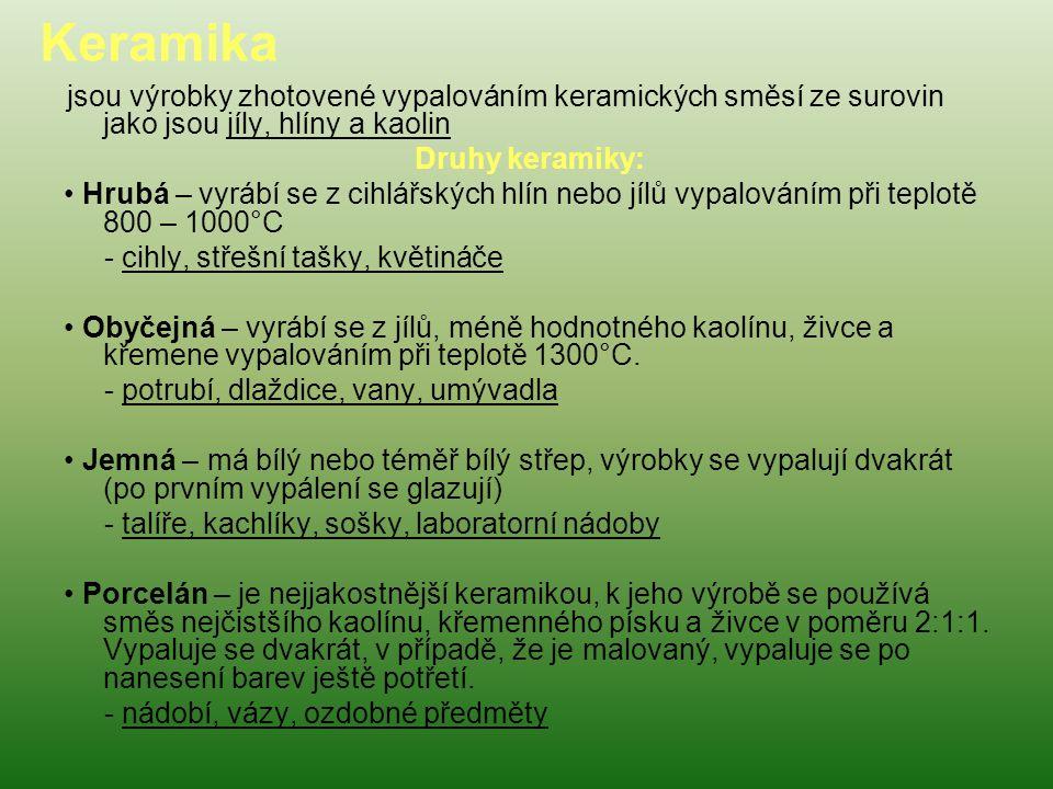 Keramika Druhy keramiky: