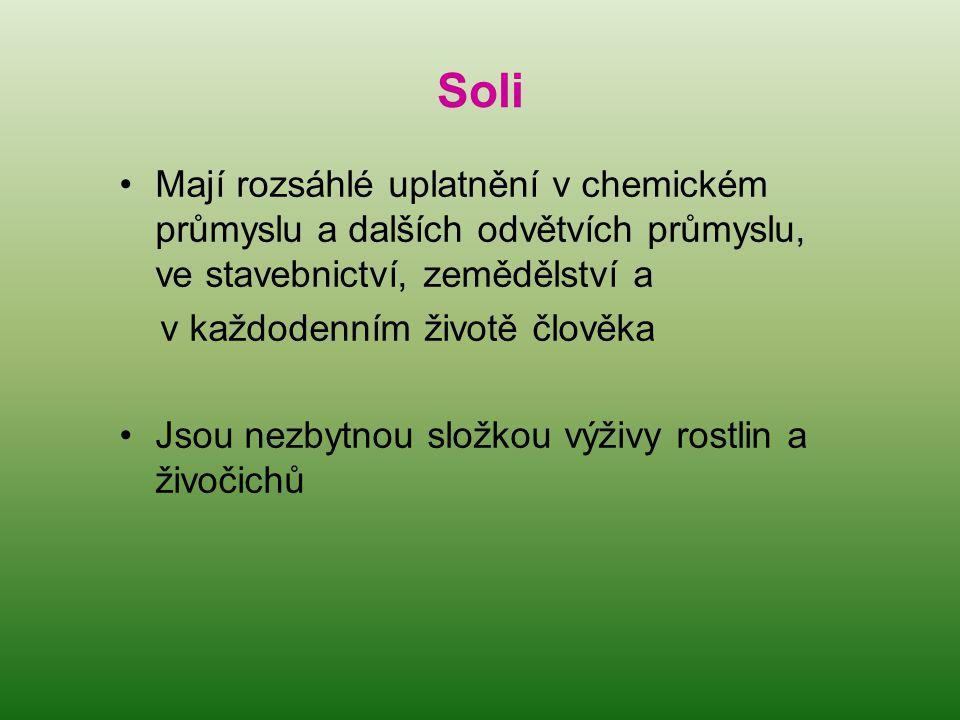 Soli Mají rozsáhlé uplatnění v chemickém průmyslu a dalších odvětvích průmyslu, ve stavebnictví, zemědělství a.