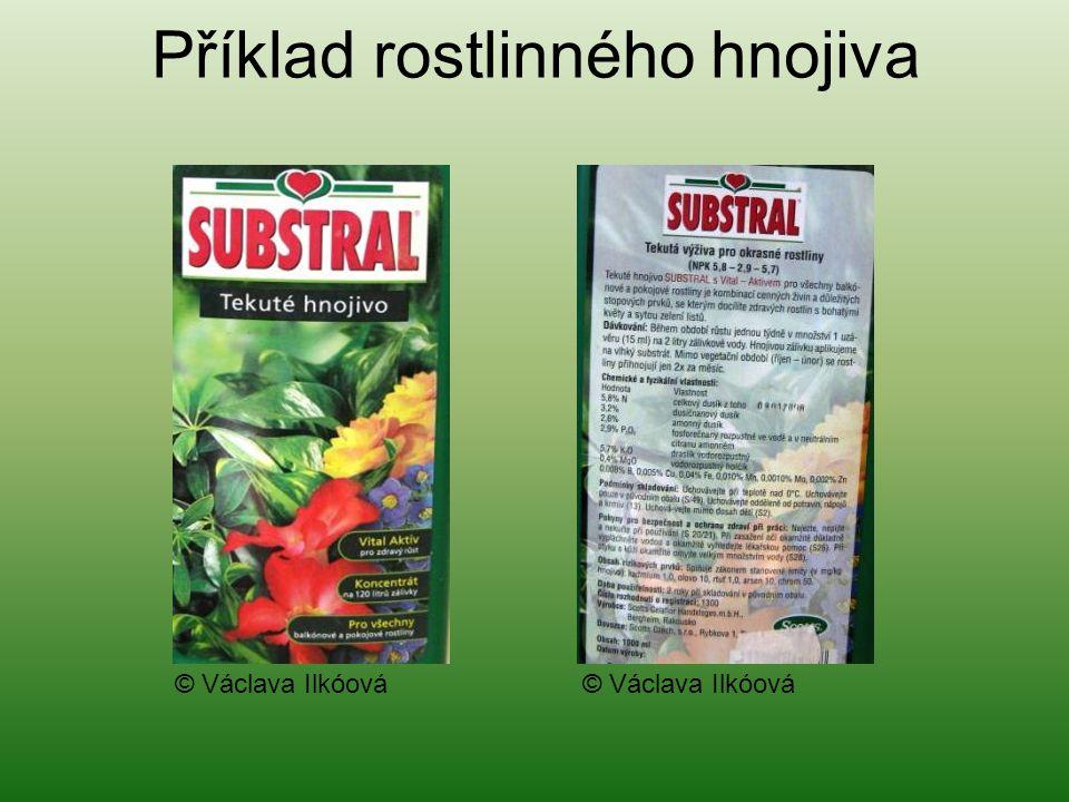 Příklad rostlinného hnojiva