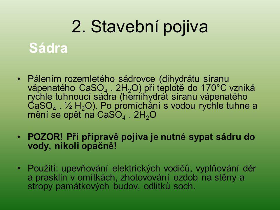 2. Stavební pojiva Sádra.